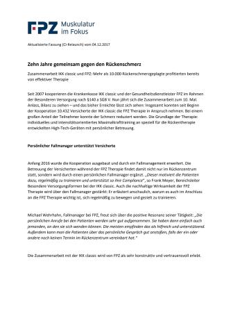 Zehn Jahre gemeinsam gegen den Rückenschmerz - Zusammenarbeit IKK classic und FPZ: Mehr als 10.000 Rückenschmerzgeplagte profitierten bereits von effektiver Therapie