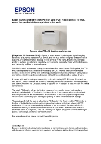 Epson launches tablet-friendly Point-of-Sale (POS) receipt printer, TM-m30, one of the smallest stationery printers in the world