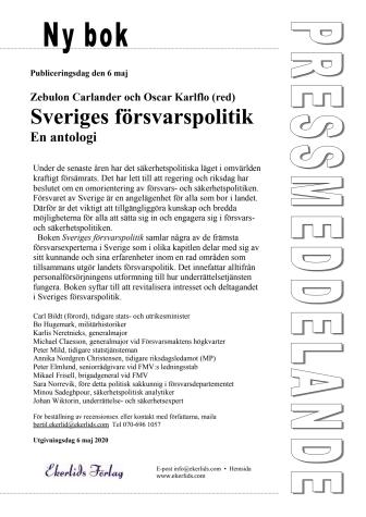 Ny bok: Sveriges försvarspolitik- en antologi med Carl Bildt m fl som författare
