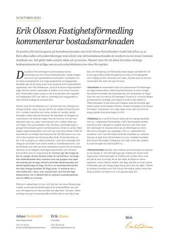 Erik Olsson Fastighetsförmedling kommenterar bostadsmarknaden 19 oktober 2020