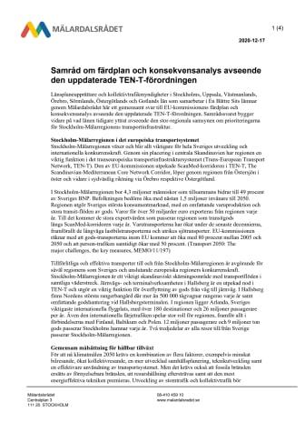 Samråd om färdplan och konsekvensanalys avseende uppdateringen av TEN-T