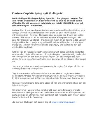 Venture Cup kör igång nytt tävlingsår!