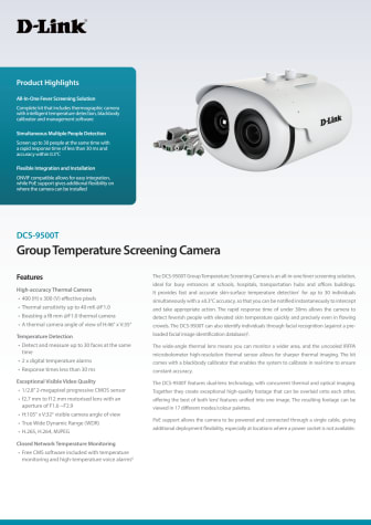 Datablad, DCS‑9500T Group Temperature Screening Camera