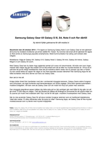 Samsung Galaxy Gear till Galaxy S III, S4, Note II och fler därtill