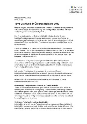 Tova Granlund är Örebros Bohjälte 2012