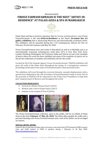 """FIROUZ FARMANFARMAIAN IS THE NEXT """"ARTIST-IN-RESIDENCE"""" AT PALAIS AZIZA AND SPA IN MARRAKECH"""