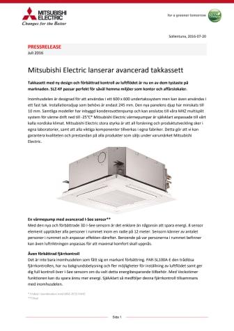 Mitsubishi Electric lanserar avancerad takkassett