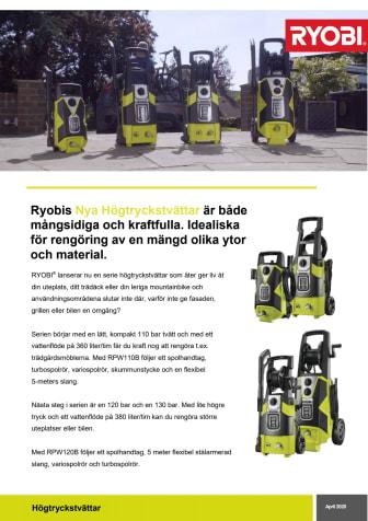 Ryobis nya serie med fyra högtryckstvättar gör rent hus!