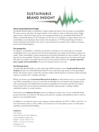 About Sustainable Brand Insight