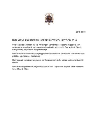 ÄNTLIGEN! FALSTERBO HORSE SHOW COLLECTION 2016