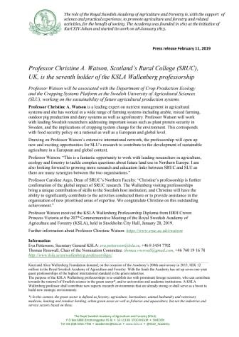 Professor Christine A. Watson, SRUC, UK, is the 7th holder of the KSLA Wallenberg Professorship