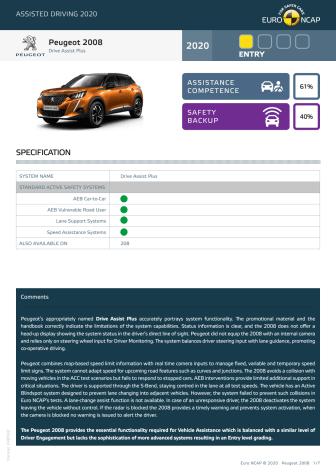 Peugeot 2008 Euro NCAP Assisted Driving Grading datasheet