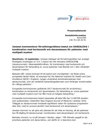 Janssen kommenterar förvaltningsrättens beslut om Darzalex i kombination med bortezomib och dexametason för patienter med multipelt myelom