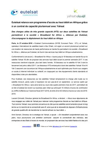 Eutelsat relance son programme d'accès au haut débit en Afrique grâce à un contrat de capacité pluriannuel avec Yahsat