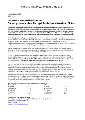 Svensk Fastighetsförmedlings årsresumé: Så har priserna utvecklats på bostadsmarknaden i Skåne