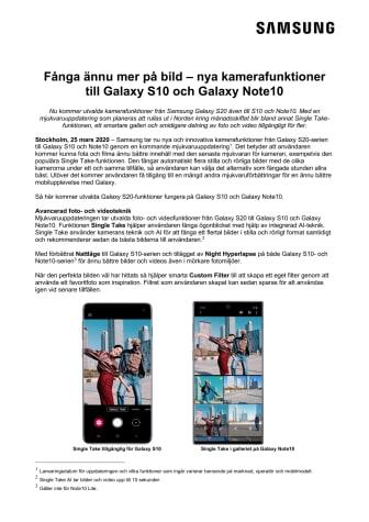 Fånga ännu mer på bild – nya kamerafunktioner till Galaxy S10 och Galaxy Note10
