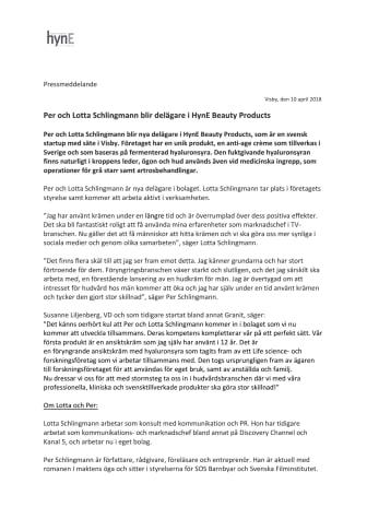 Per och Lotta Schlingmann blir delägare i HynE Beauty Products