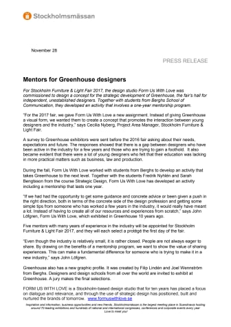 Mentors for Greenhouse designers