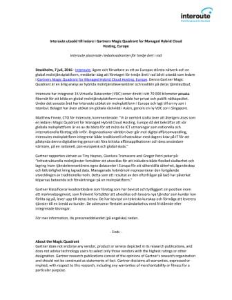 Interoute utsedd till ledare i Gartners Magic Quadrant for Managed Hybrid Cloud Hosting, Europe
