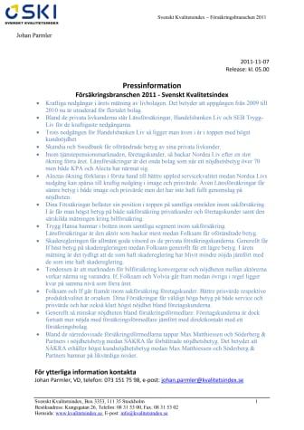 Försäkringsbranschen 2011 - Svenskt Kvalitetsindex