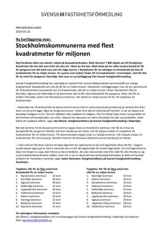 Ny kartläggning visar: Stockholmskommunerna med flest kvadratmeter för miljonen
