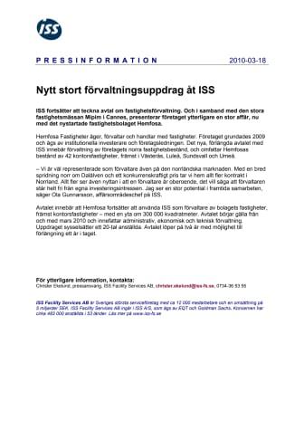 Nytt stort förvaltningsuppdrag åt ISS