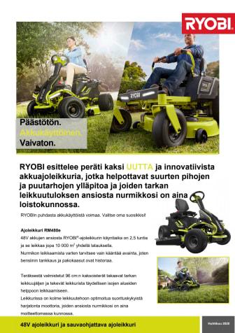 RYOBI esittelee peräti kaksi UUTTA ja innovatiivista akkuajoleikkuria