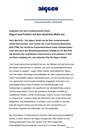 Algeco baut Position auf dem deutschen Markt aus