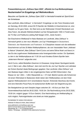 Pressemitteilung Zollhaus Open 2020