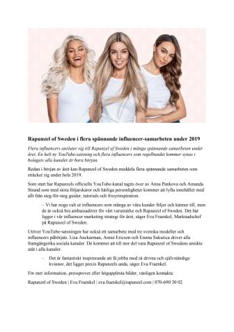 Rapunzel of Sweden i flera spännande influencer-samarbeten under 2019