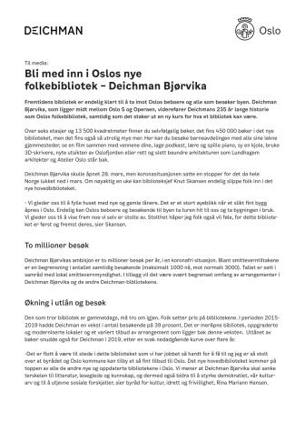 Faktaark - Deichman Bjørvika