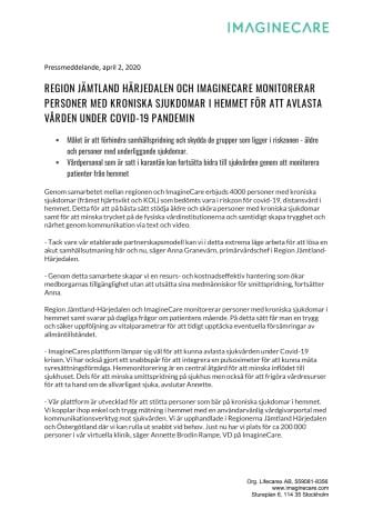 Region Jämtland Härjedalen och ImagineCare monitorerar personer med kroniska sjukdomar i hemmet för att avlasta vården under Covid-19 pandemin