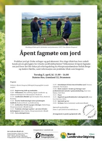 Program Åpent fagmøte om jord 5. april 2018 i Drammen
