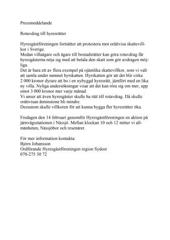 Hyresgästföreningen agerar i Nässjö