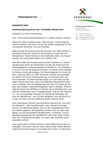 Reportage: Carlsfelder Fackelwanderung