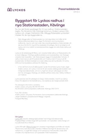 Byggstart för Lyckos radhus i nya Stationsstaden, Kävlinge