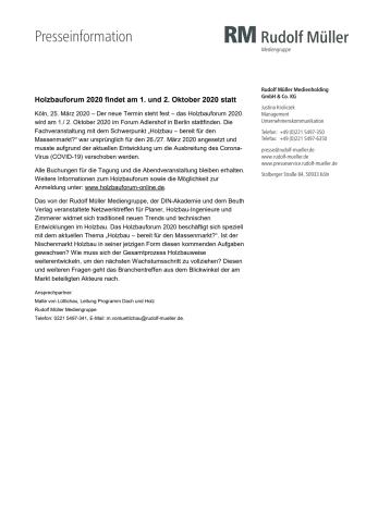 Holzbauforum 2020 findet am 1. und 2. Oktober 2020 statt