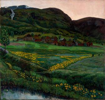 Nikolai Astrup: Klar juninatt / A Clear Night in June, olje på lerret, 1905–1907