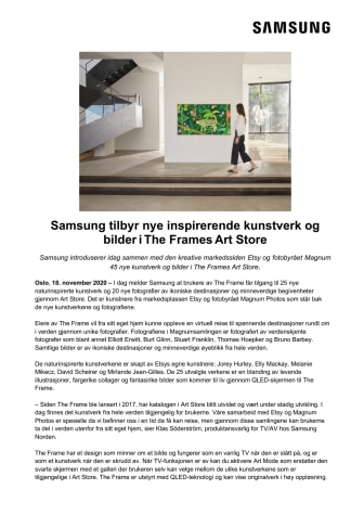 Samsung tilbyr nye inspirerende kunstverk og bilder i The Frames Art Store