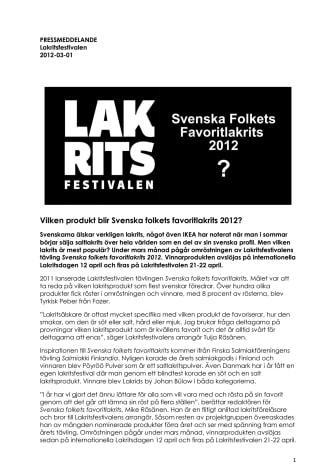 Vilken produkt blir Svenska folkets favoritlakrits 2012?