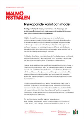 Nyskapande konst och mode på Malmöfestivalen!