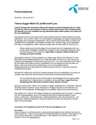 Telenor bygger Mobil UC på Microsoft Lync