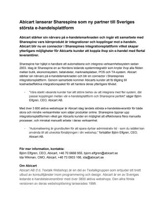 Abicart lanserar Sharespine som ny partner till Sveriges största e-handelsplattform