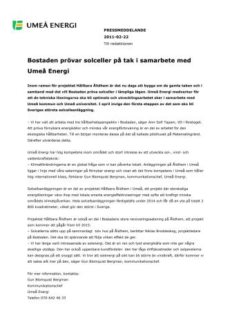 Bostaden prövar solceller på tak i samarbete med Umeå Energi