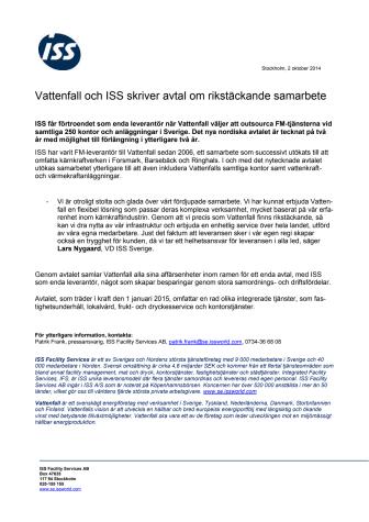 Vattenfall och ISS skriver avtal om rikstäckande samarbete