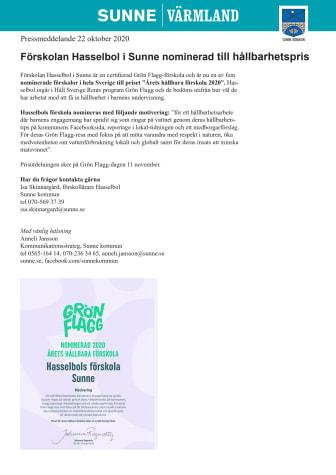 Förskolan Hasselbol i Sunne nominerad till hållbarhetspris
