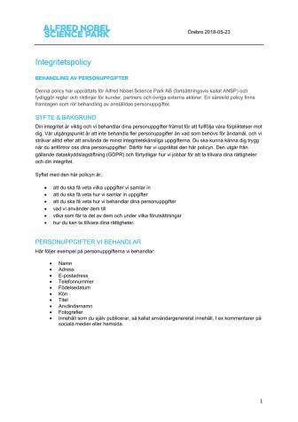 Integritetspolicy och riktlinjer för GDPR - uppdaterad sept-19