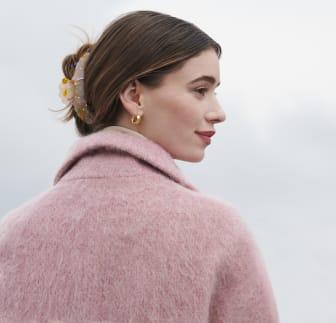 Glitter Model Image - hair clip + earrings