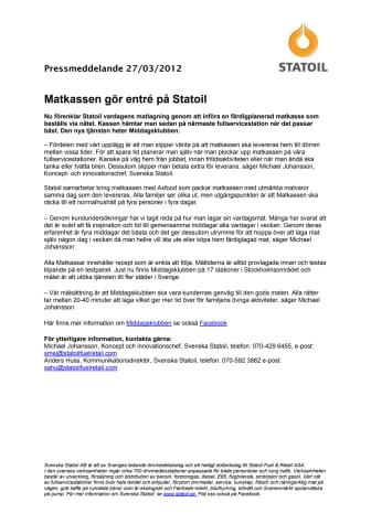 Matkassen gör entré på Statoil