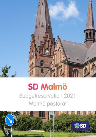 Svenska kyrkan: Sverigedemokraternas budgetreservation 2021 till Malmö pastorat